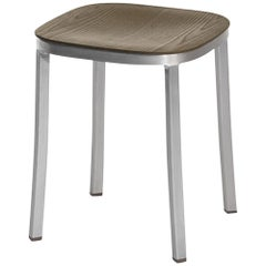 Emeco 1 Inch Small Stool in Brushed Aluminium and Walnut by Jasper Morrison