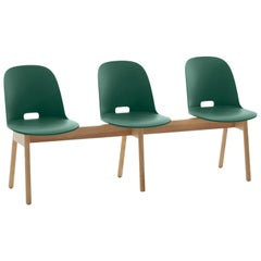 Emeco Alfi 3-Seat Bench in Green and Ash with High Back by Jasper Morrison