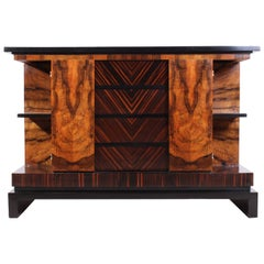 Italian Art Deco Walnut and Macassar Ebony Commode, circa 1930