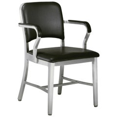 Emeco Navy® Armchair in Polished Aluminum & Black Upholstery by Us Navy