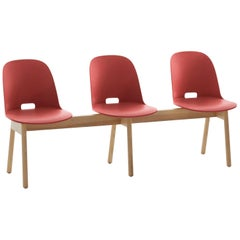 Emeco Alfi 3-Seat Bench in Red and Ash with High Back by Jasper Morrison