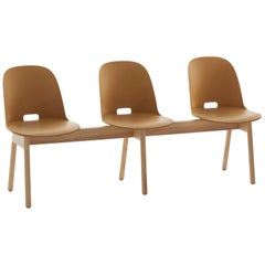 Emeco Alfi 3-Seat Bench in Sand and Ash with High Back by Jasper Morrison