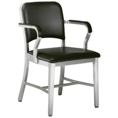 Emeco Navy Armchair in Brushed Aluminum and Black Upholstery by US Navy