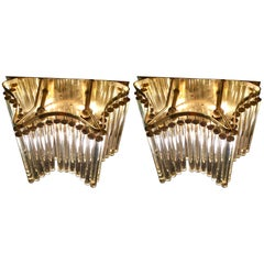 Crystal and Gilt Metal Two-Tier Wall Light by Ernst Palme