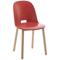 Emeco Alfi Chair in Red and Ash with High Back by Jasper Morrison