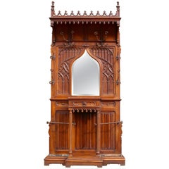 Continental Gothic Revival Carved Walnut Hall Stand, circa 1890