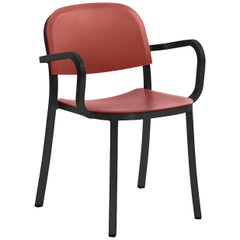 Emeco Armchair in Dark Aluminum & Red Ochre by Jasper Morrison