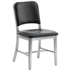 Emeco Navy Chair in Brushed Aluminum and Black Upholstery by US Navy