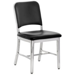 Emeco Navy® Chair in Polished Aluminum & Black Upholstery by US Navy