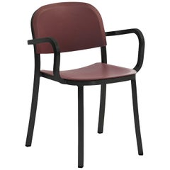 Emeco Armchair in Dark Aluminum & Bordeaux by Jasper Morrison