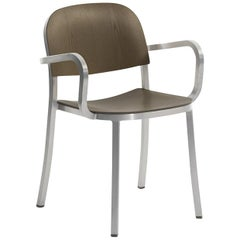 Emeco 1 Inch Armchair in Brushed Aluminum & Walnut by Jasper Morrison