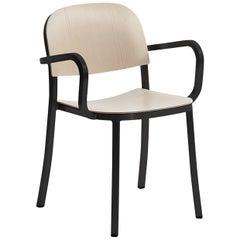 Emeco 1 Inch Armchair in Dark Powder-Coated Aluminum and Ash by Jasper Morrison