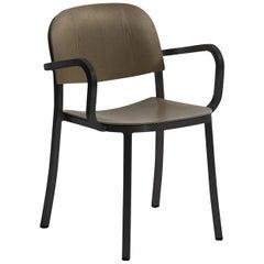 Emeco 1 Inch Armchair in Dark Powder-Coated Aluminum & Walnut by Jasper Morrison