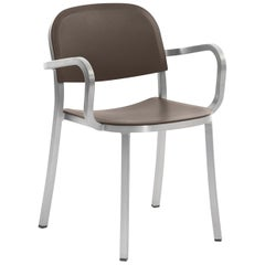 Emeco 1 Inch Armchair in Brushed Aluminum and Brown by Jasper Morrison