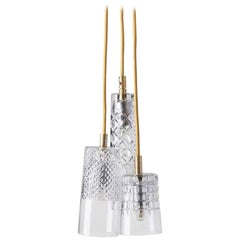 Three-Piece Set of Mouth Blown Etched Crystal Suspension Pendant Lamps
