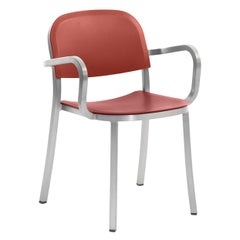 Emeco 1 Inch Armchair in Brushed Aluminum and Red Ochre by Jasper Morrison
