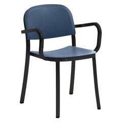 Emeco 1 Inch Armchair in Dark Powder-Coated Aluminum and Blue by Jasper Morrison