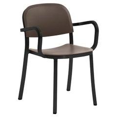 Emeco 1 Inch Armchair in Dark Powder-Coated Aluminum & Brown by Jasper Morrison