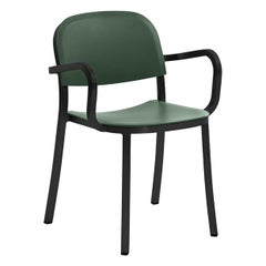 Emeco 1 Inch Armchair in Dark Powder-Coated Aluminum & Green by Jasper Morrison