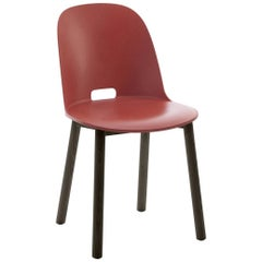 Emeco Alfi Chair in Red and Dark Ash with High Back by Jasper Morrison