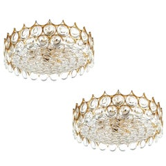 Palwa Refurbished Gold Plated Brass and Glass Semi Flush Mount