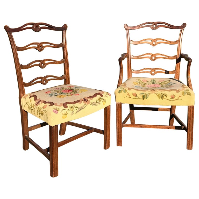 Set 8 Chippendale Period Mahogany Dining Chairs, circa 1770 For Sale