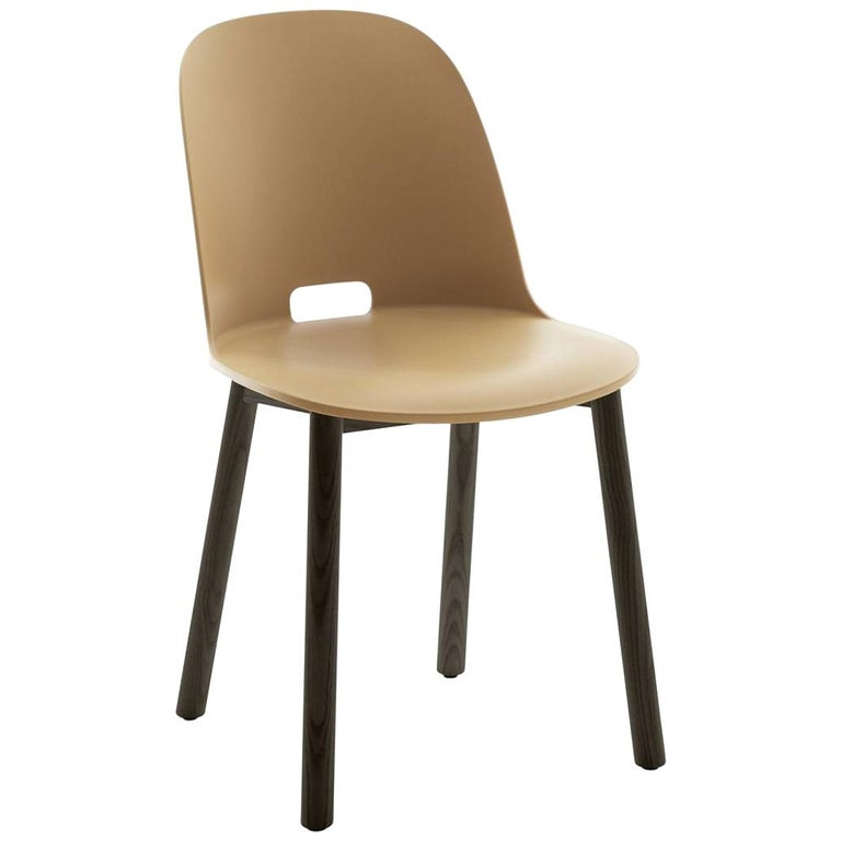 Emeco Alfi Chair in Sand and Dark Ash with High Back by Jasper Morrison For Sale