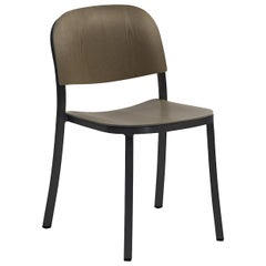 Emeco 1 Inch Stacking Chair in Dark Aluminum and Walnut by Jasper Morrison