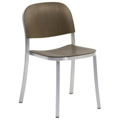 Emeco 1 Inch Stacking Chair in Brushed Aluminum and Walnut by Jasper Morrison