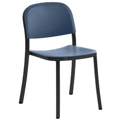 Emeco 1 Inch Stacking Chair in Dark Aluminum and Blue by Jasper Morrison