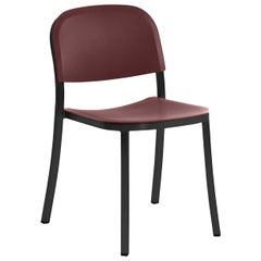 Emeco 1 Inch Stacking Chair in Dark Aluminum and Bordeaux by Jasper Morrison