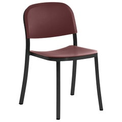 Emeco 1 Inch Stacking Chair in Dark Aluminum and Brown by Jasper Morrison