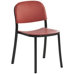 Emeco 1 Inch Stacking Chair in Dark Aluminum and Red Ochre by Jasper Morrison