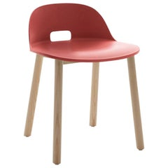 Emeco Alfi Chair in Red and Ash with Low Back by Jasper Morrison