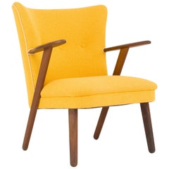Cocktail Chair Re-Upholstered in Yellow Fabric in the Style of Kurt Olsen, 1950s