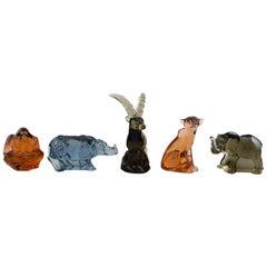 "Paul Hoff for ""Svenskt Glass"", Five Art Glass Figures, WWF"