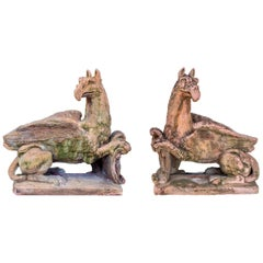 Pair of Large Griffins Sculptures in Terracotta Style Stone, 1940s