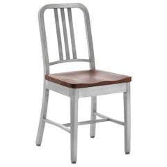 Emeco Navy Chair in Brushed Aluminum and Cherry by US Navy