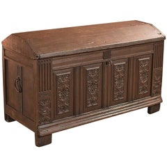 Antique Chest, Oak Ships Trunk, Late 17th Century