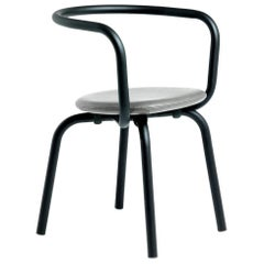 Emeco Parrish Side Chair in Black Powder-Coat & Gray Leather by Konstantin Grcic
