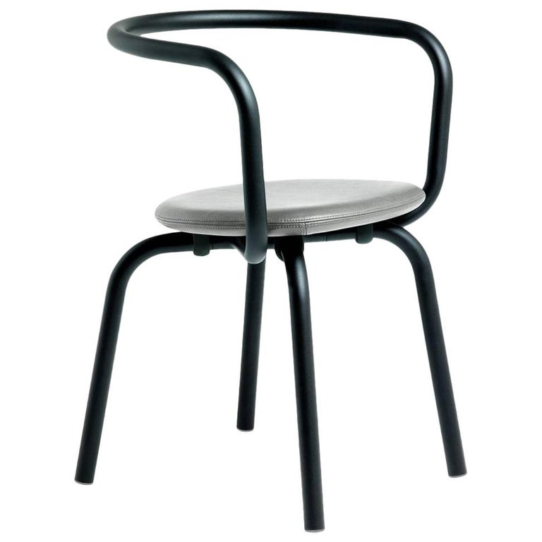 Emeco Parrish Side Chair in Black Powder-Coat & Gray Leather by Konstantin Grcic For Sale