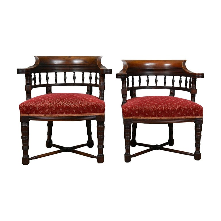 Pair Of Antique Salon Chairs English Late Victorian His And Hers Circa