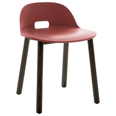 Emeco Alfi Chair in Red & Dark Ash w/ Low Back by Jasper Morrison