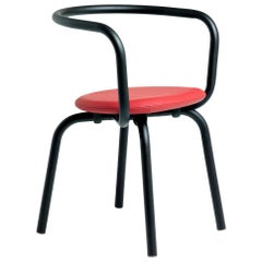 Emeco Parrish Side Chair in Black Powder-Coat and Red Leather, Konstantin Grcic