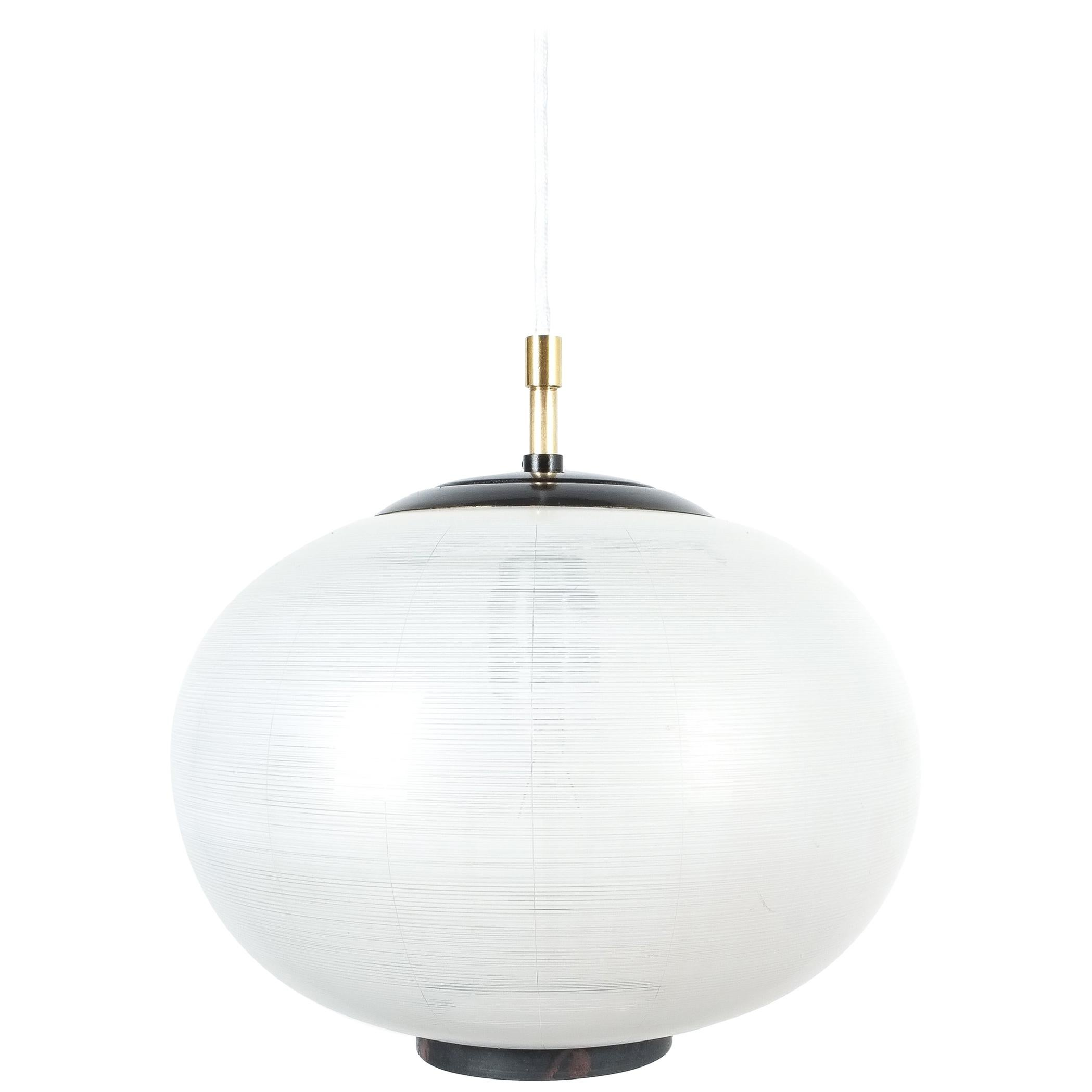 Satin Glass and Brass Pendant Lamp by Stilnovo, Italy, 1950
