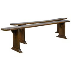 Pair of Antique Benches, Victorian, English, Forms, Oak, Kitchen Dining