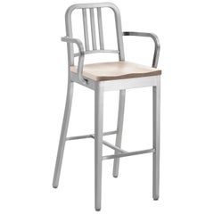 Emeco Navy Barstool with Arms in Brushed Aluminum and Ash by US Navy