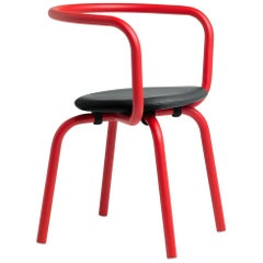 Emeco Parrish Side Chair in Red Powder-Coat & Black Leather by Konstantin Grcic