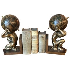 Pair of Vintage Bookends with Globes and Atlas Figurene, circa 1980