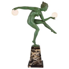 Art Deco Sculpture Nude Disc Dancer Derenne, Marcel Bouraine, 1930